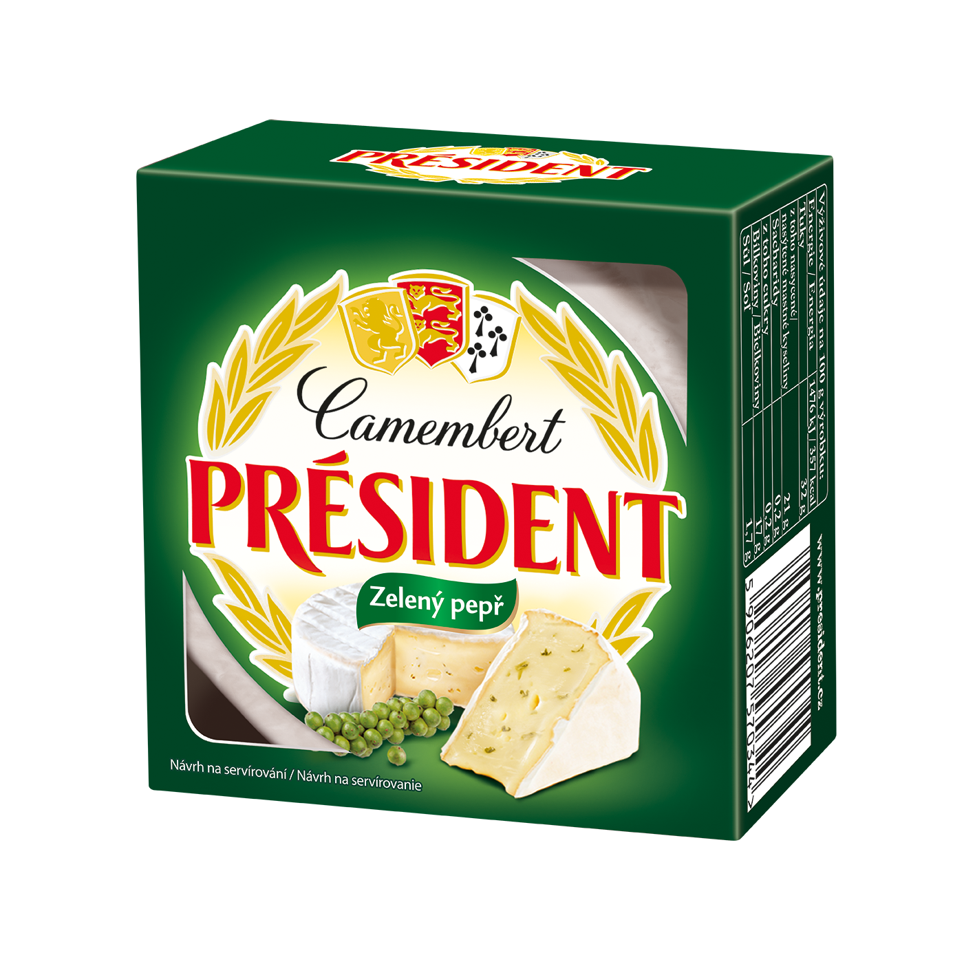 Soft cheese Camembert with green pepper 60% Président