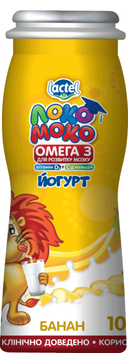 Drinkable yoghurt 1,5% Banana, with Calcium, Omega3 and Vitamin D3 Loko Moko (bottle 0,100 kg)