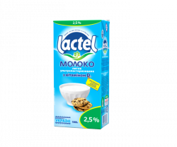 Ultra heat-treated milk Lactel with vitamin D3 2.5%