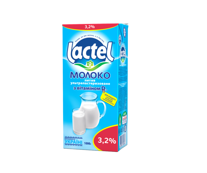 Ultra heat-treated milk Lactel with vitamin D3 3,2%