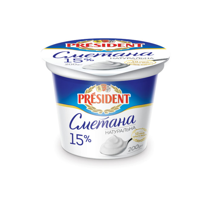 Sour Cream President 15% (Cup 0,200 kg)