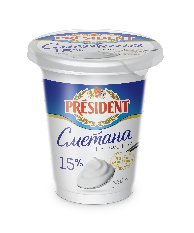 Sour Cream President 15% (Pouch 0,350 kg)