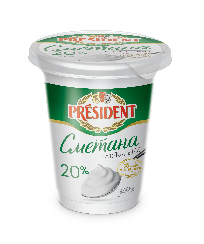 Sour Cream President 20% (Pouch 0,350 kg)
