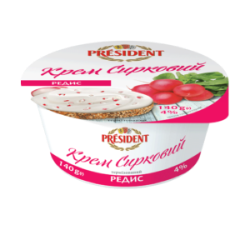 "Creamy curd with additive ""Radish"" President 4% (cup 0,140g)"