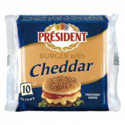 Processed cheese slices with Cheddar 40% Président