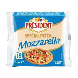 Processed cheese slices with Mozzarella for pizza 40% Président