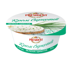 "Creamy curd with additive ""Spring onion"" President 4% (cup 0,140g)"