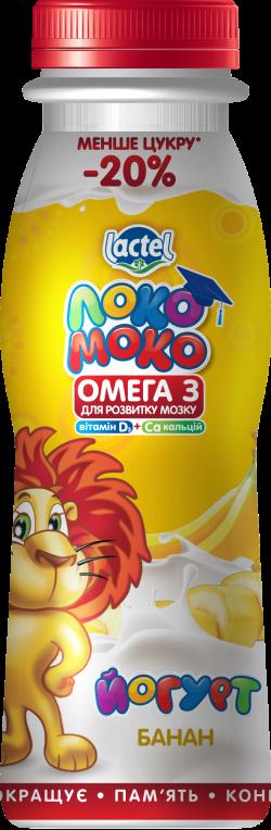 Drinkable yoghurt 1,5% Banana, with Calcium, Omega3 and Vitamin D3 Loko Moko (bottle 0,185 kg)