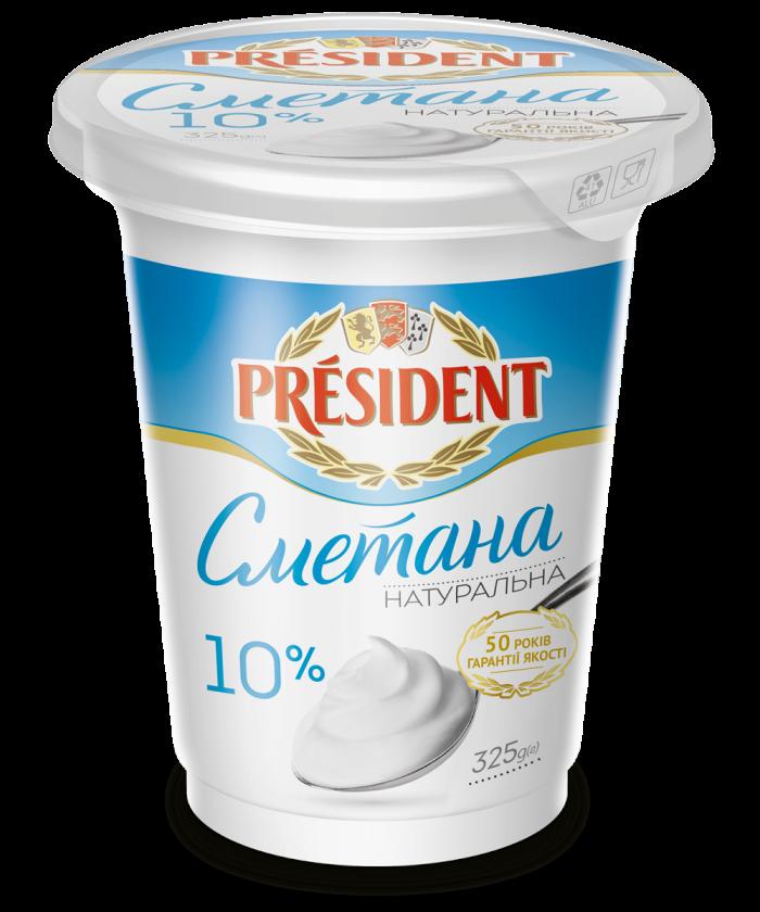 Sour Cream President 10% (Pouch 0,325 kg)