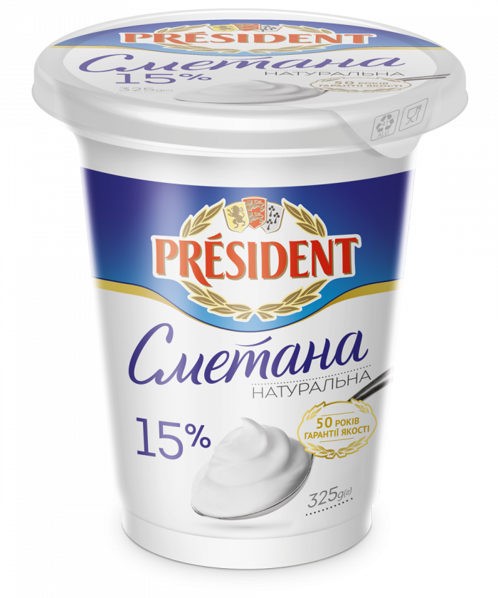 Sour Cream President 15% (Pouch 0,325 kg)