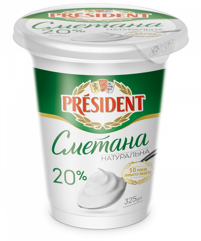 Sour Cream President 20% (Pouch 0,325 kg)