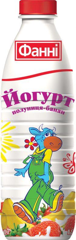 Drinkable yoghurt 1% Strawberry-Banana Fanni (bottle 0,870 kg)