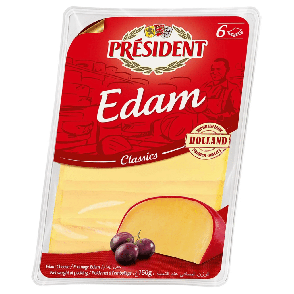 Сир твердий Едам скибками 40% Президент