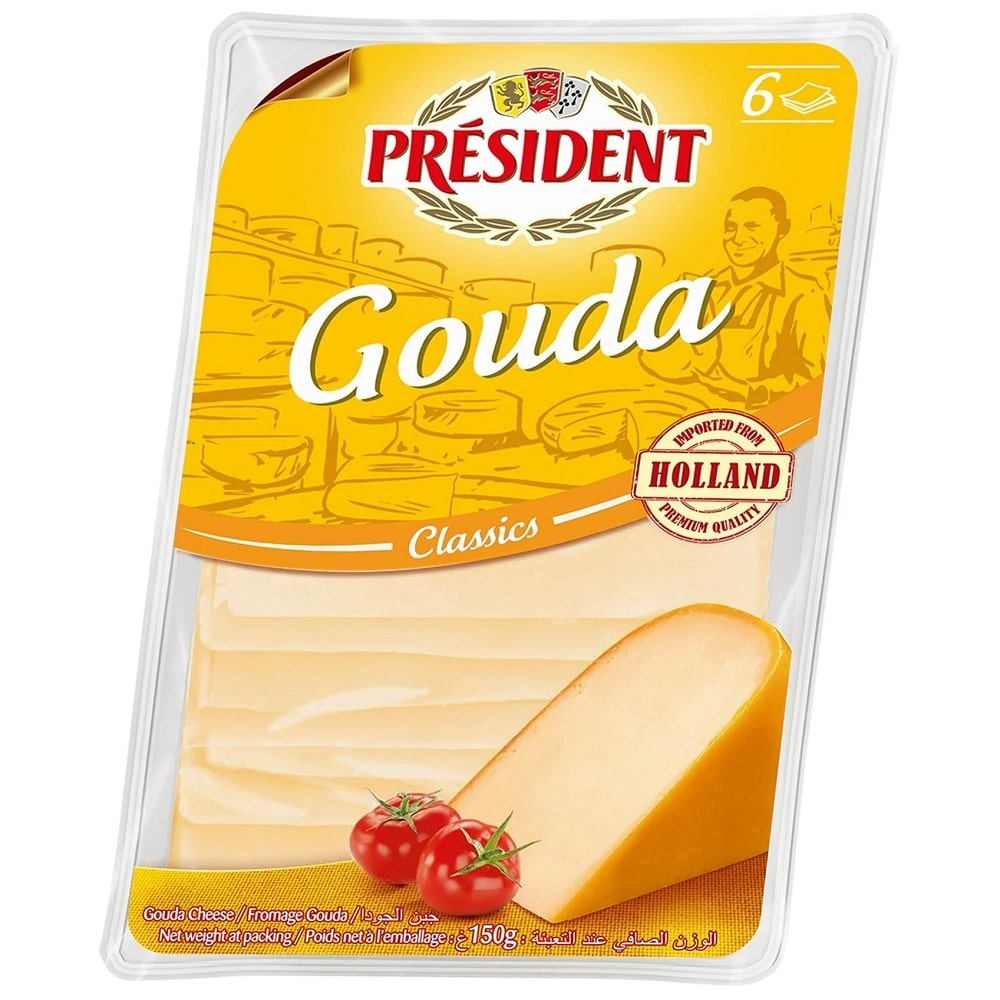 Сир твердий Гауда скибками 48% Президент