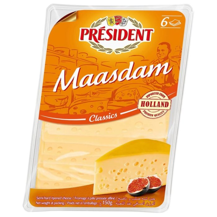 Hard cheese Maasdam slice 45% President
