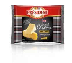 Сир твердий Чеддер Вінтажний 48% Президент