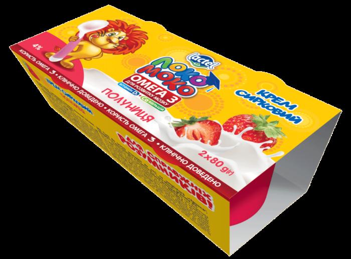 Syrok aerated 4% Strawberry LokoMoko (cup  0,160 kg (2*80g)