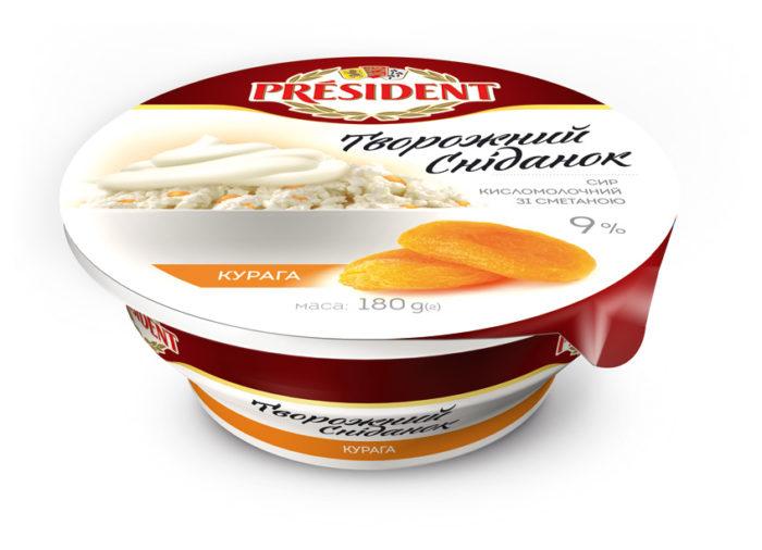 Сир кисломолочний 9% Президент зі сметаною та курагою