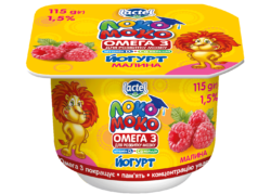 Yoghurt 1,5% Raspberry, with Calcium, Omega3 and Vitamin D3 Loko Moko (cup 0,115 kg)