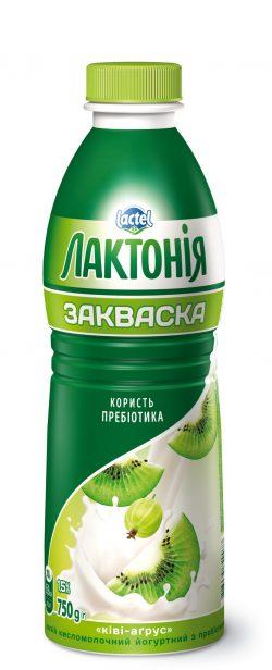 """Напій кисломолочний йогуртний  з лактулозою """"Закваска""""  Ківі-Аґрус 1,5%,  """"Лактонія"""""""