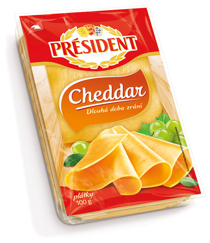Hard cheese Cheddar sliced 51% President