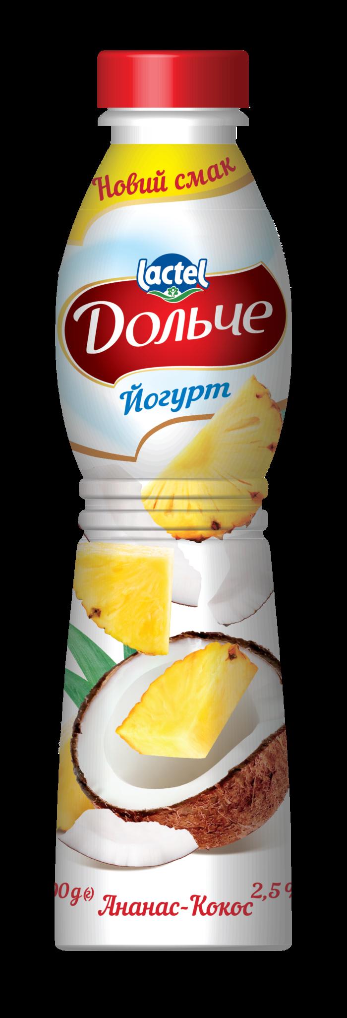 Йогурт питний 2,5% з ананасом та кокосом Дольче