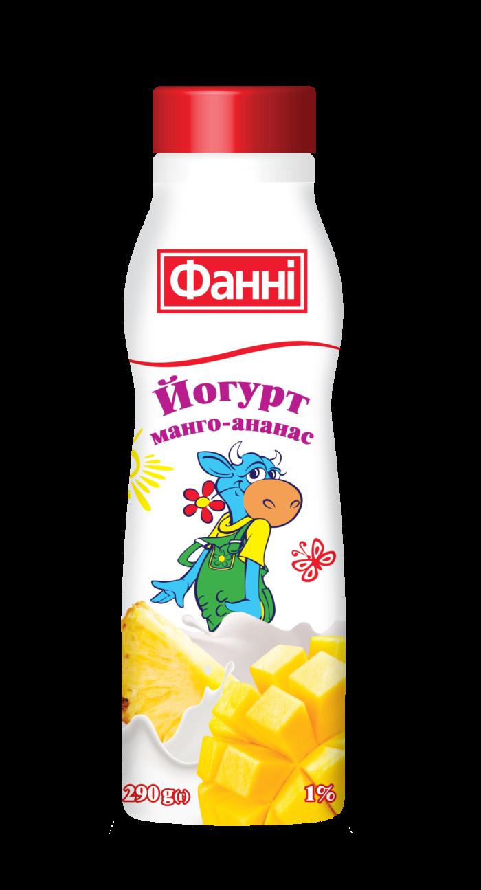 Йогурт питний 1% з манго та ананасом Фанні