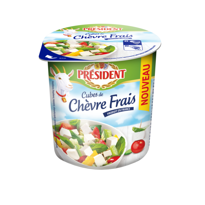 Сир Шевр з козиного молока нарізаний кубиками в розсолі 45,0% Президент