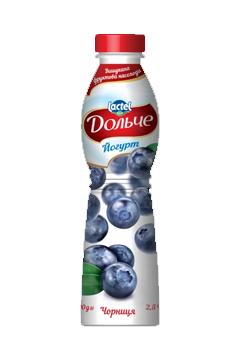 Йогурт питний 2,5% з чорницею Дольче