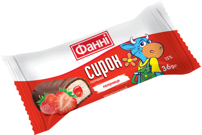 Glazed curd 15% Fanni with strawberry