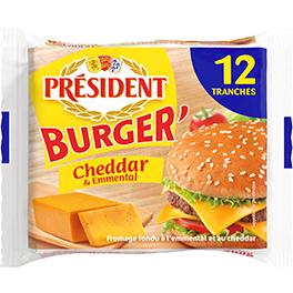 Сир плавлений у скибках з Чеддером та Ементалем для бургерів Президент 40% (200г)