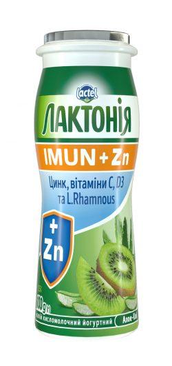 Напій кисломолочний йогуртний з цинком, вітамінами D3 та C,і пробіотиком L.Rhamnosus Алое-ківі 1,5% «Лактонія Імун+»