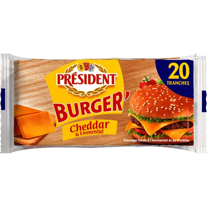 Сир плавлений у скибках з Чеддером та Ементалем для бургерів Президент 40% (340г)